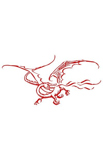 Funny red-ink flying dragon tattoo design
