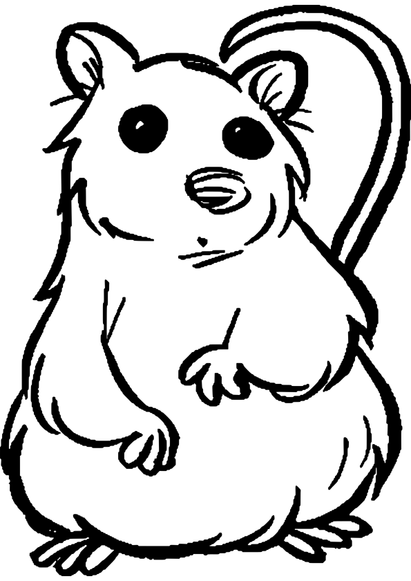 Funny surprised outline cartoon rodent tattoo design