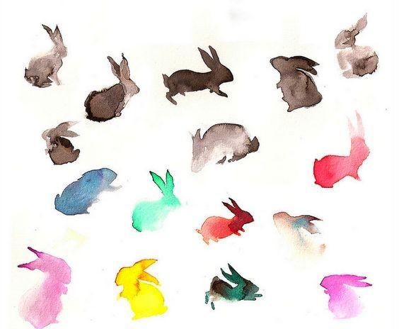 Funny tiny vivid watercolor hare silhouettes tattoo design