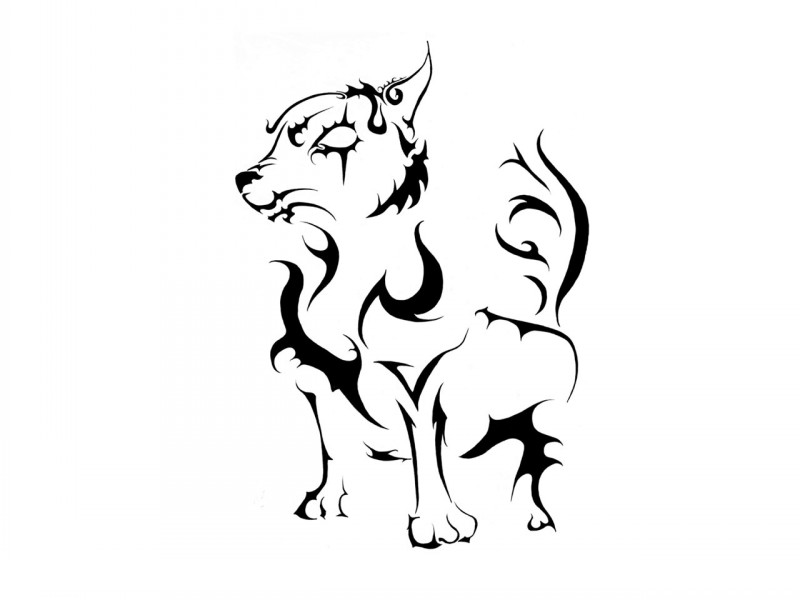Funny tribal standing dog tattoo design for Funny dog tattoos