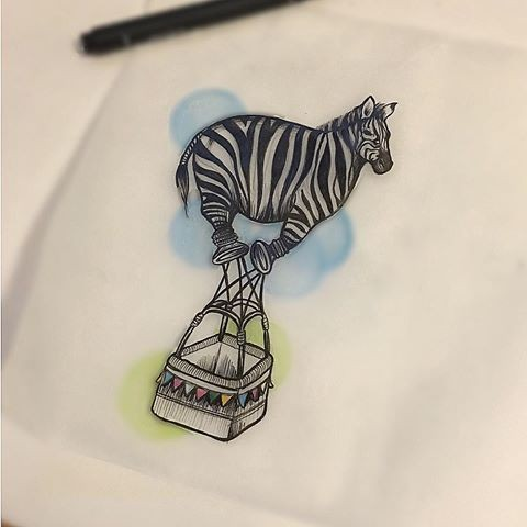 Funny zebra balloon with busket on blue-and-green background tattoo design