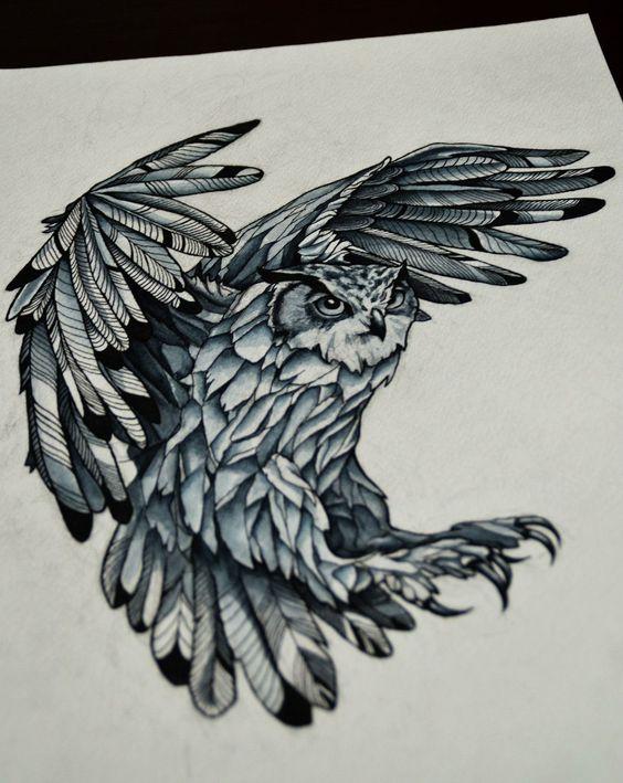 Furious attacking owl tattoo design