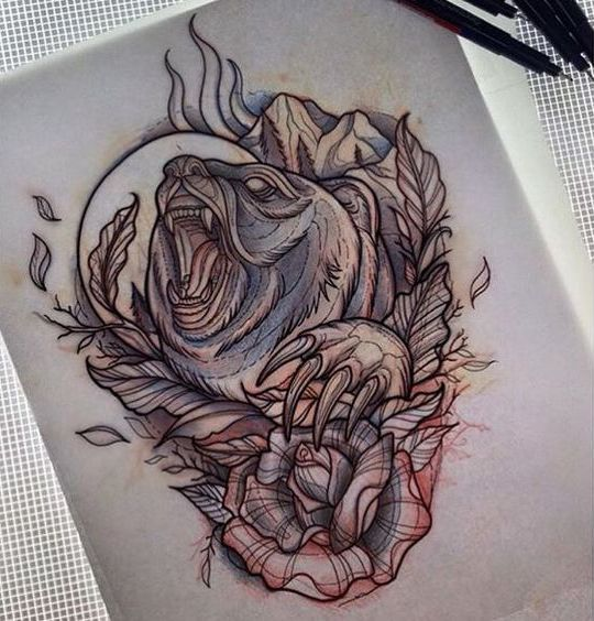 Furious bear howling on full moon and huge rose tattoo design