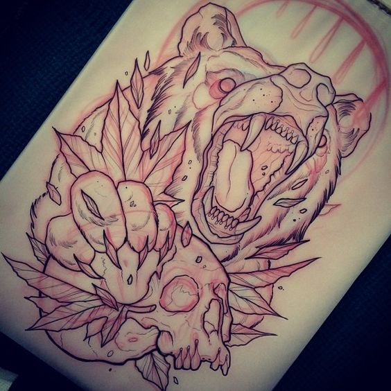 Furious bear with skull and maple leaves tattoo design