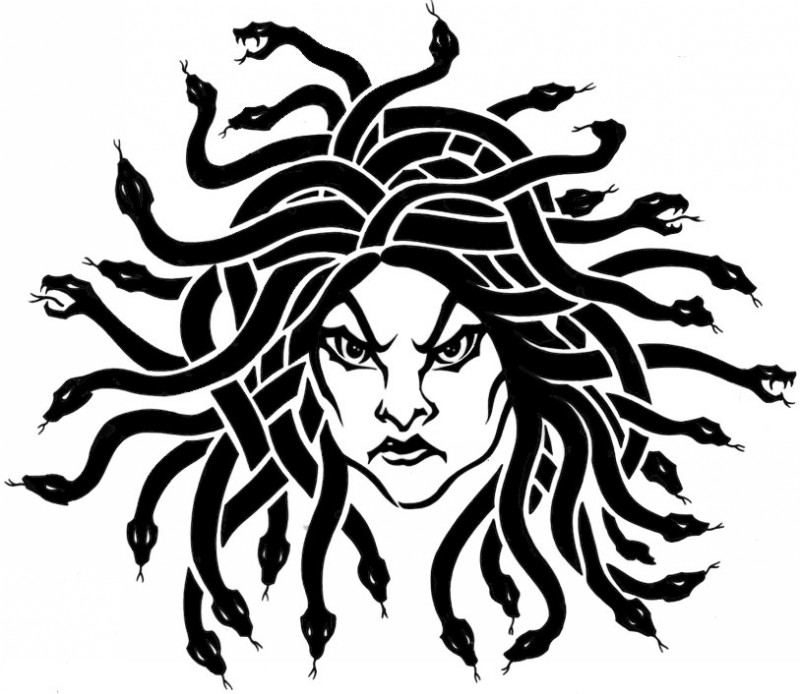 Furious black-ink medusa gorgona head tattoo design