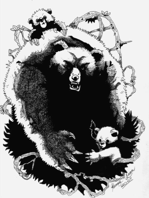 Furious black bear protecting her cubs tattoo design