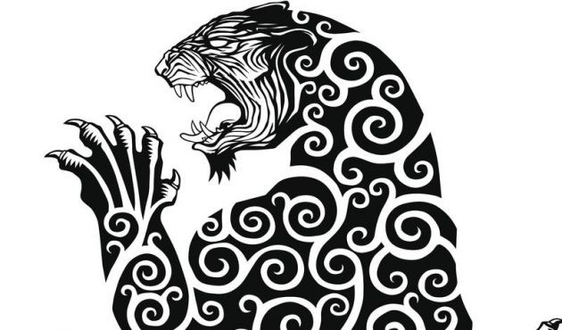 Furious black curl-patterned jaguar with hanging paw tattoo design