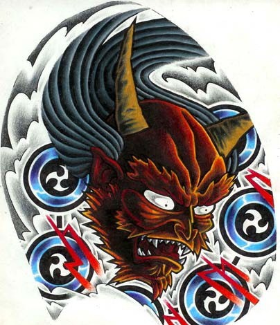 Furious brown devil with signed flying plates tattoo design