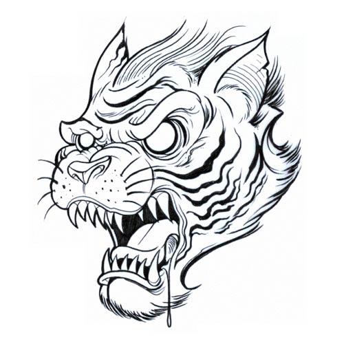 Furious Cartoon Outline Tiger Head Tattoo Design