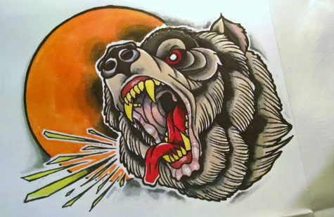 Furious colorful old school bear head on orange sun background tattoo design