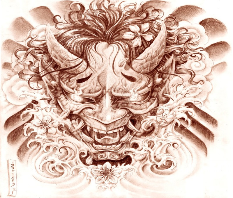 Furious devil face with fire eyed and cherry blossom elements tattoo design