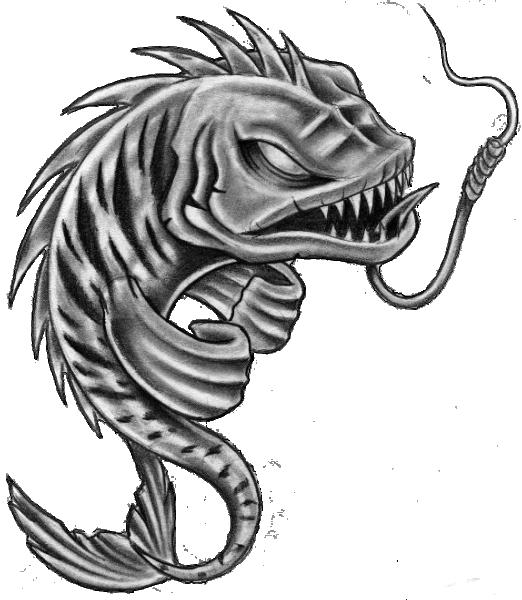 Furious Grey Color Fish Hanging On Hook Tattoo Design Tattooimages Biz