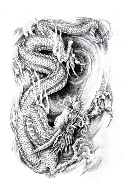 furious grey ink fighting dragon in water tattoo design. Black Bedroom Furniture Sets. Home Design Ideas