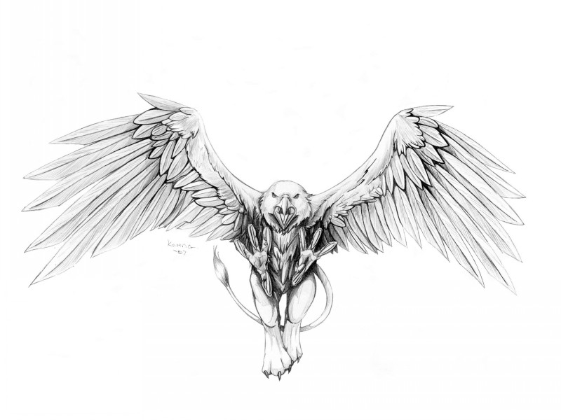 Furious grey-ink griffin attacking his poor prey tattoo design