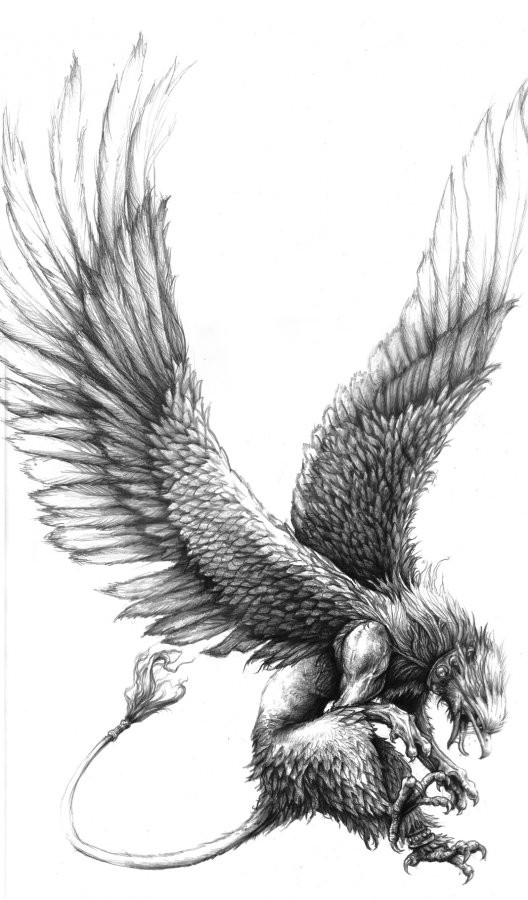 Furious grey-ink griffin attacking his prey tattoo design