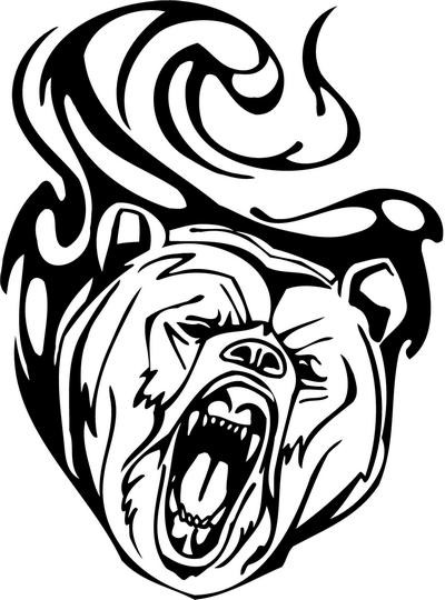 Furious grizzly on tribal background tattoo design