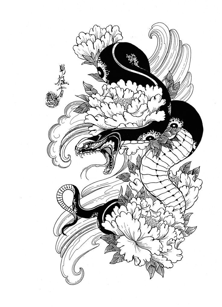 furious japanese snake with peonies in water tattoo design. Black Bedroom Furniture Sets. Home Design Ideas