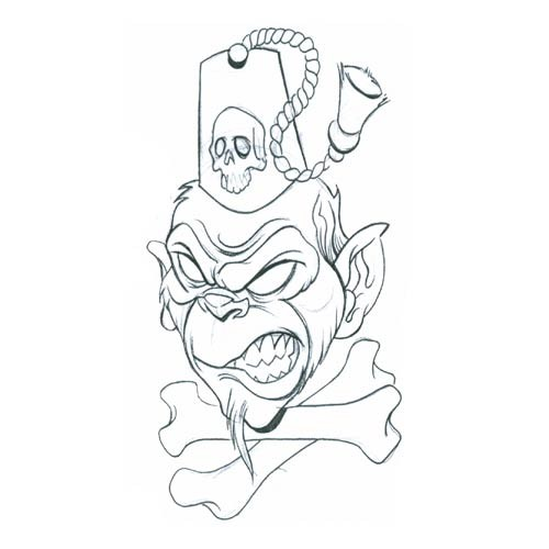 397bee12199ce Furious monkey head with crossed bones and skull print on cap tattoo design  - Tattooimages.biz