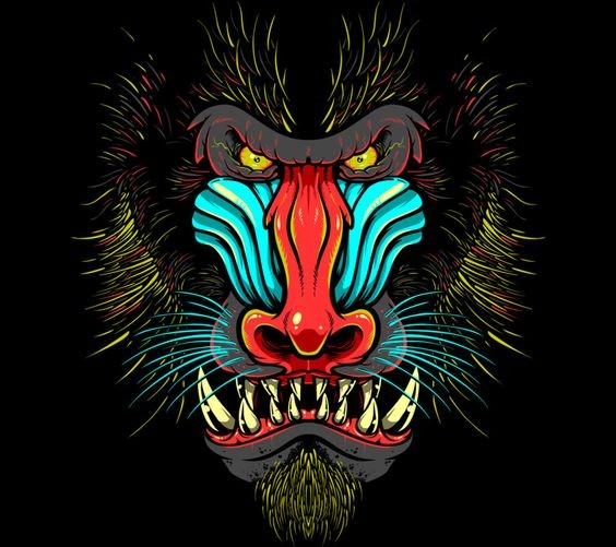 Tattoo Designs Hd Images: Furious Multicolor Baboon Face Tattoo Design