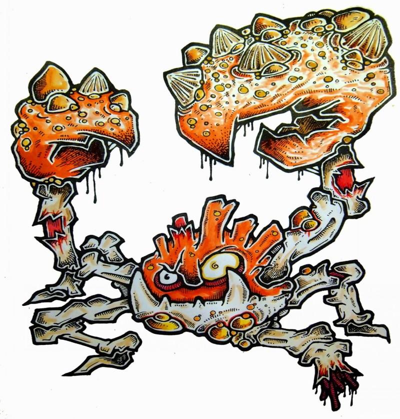 Furious orange zombie crab pokemon tattoo design