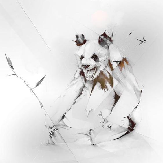 Furious original sitting panda bear tattoo design