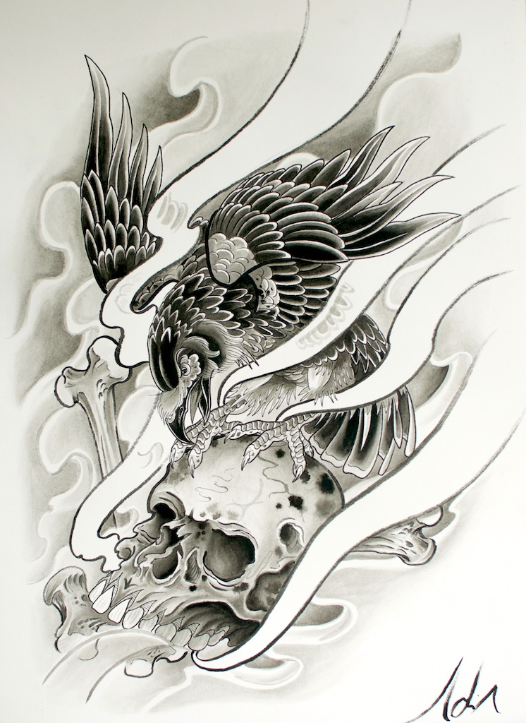 Furious raven attacking a skull tattoo design