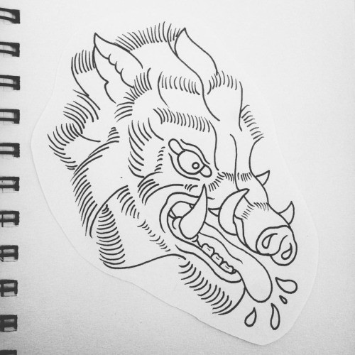 Furious uncolored old school pig head tattoo design