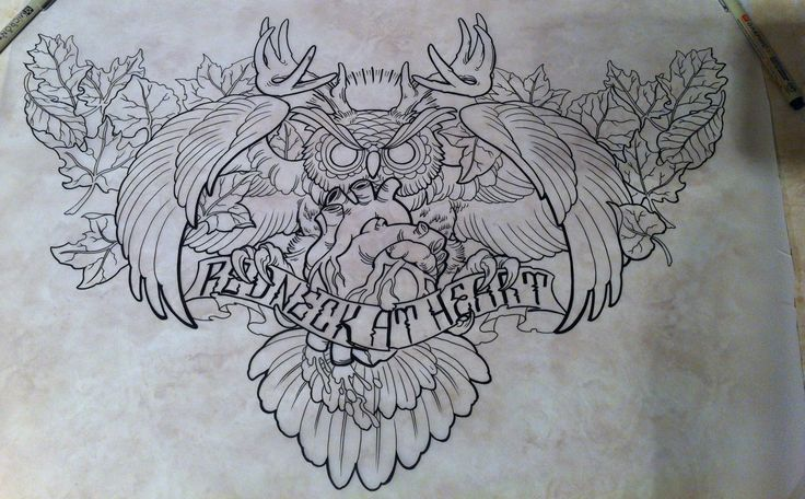Furious Uncolored Owl With Human Heart And Quoted Stripe