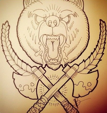 Furious uncolored roaring grizzly with crossed axes tattoo design