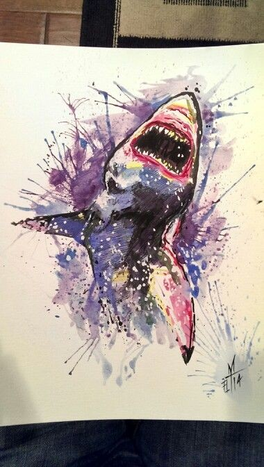 Furious watercolor shark in splashes tattoo design