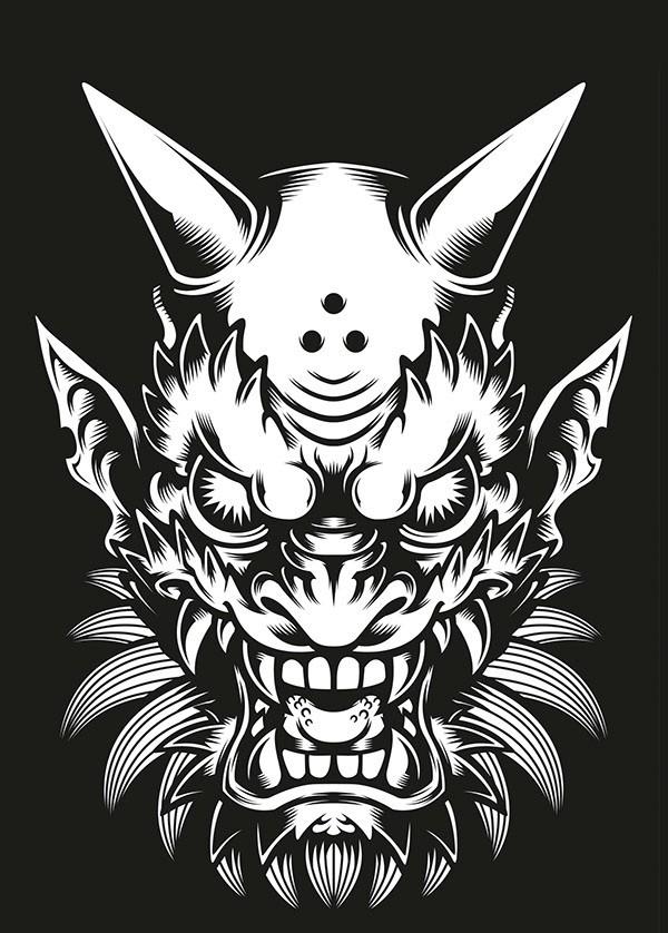 Furious white-ink devil face tattoo design