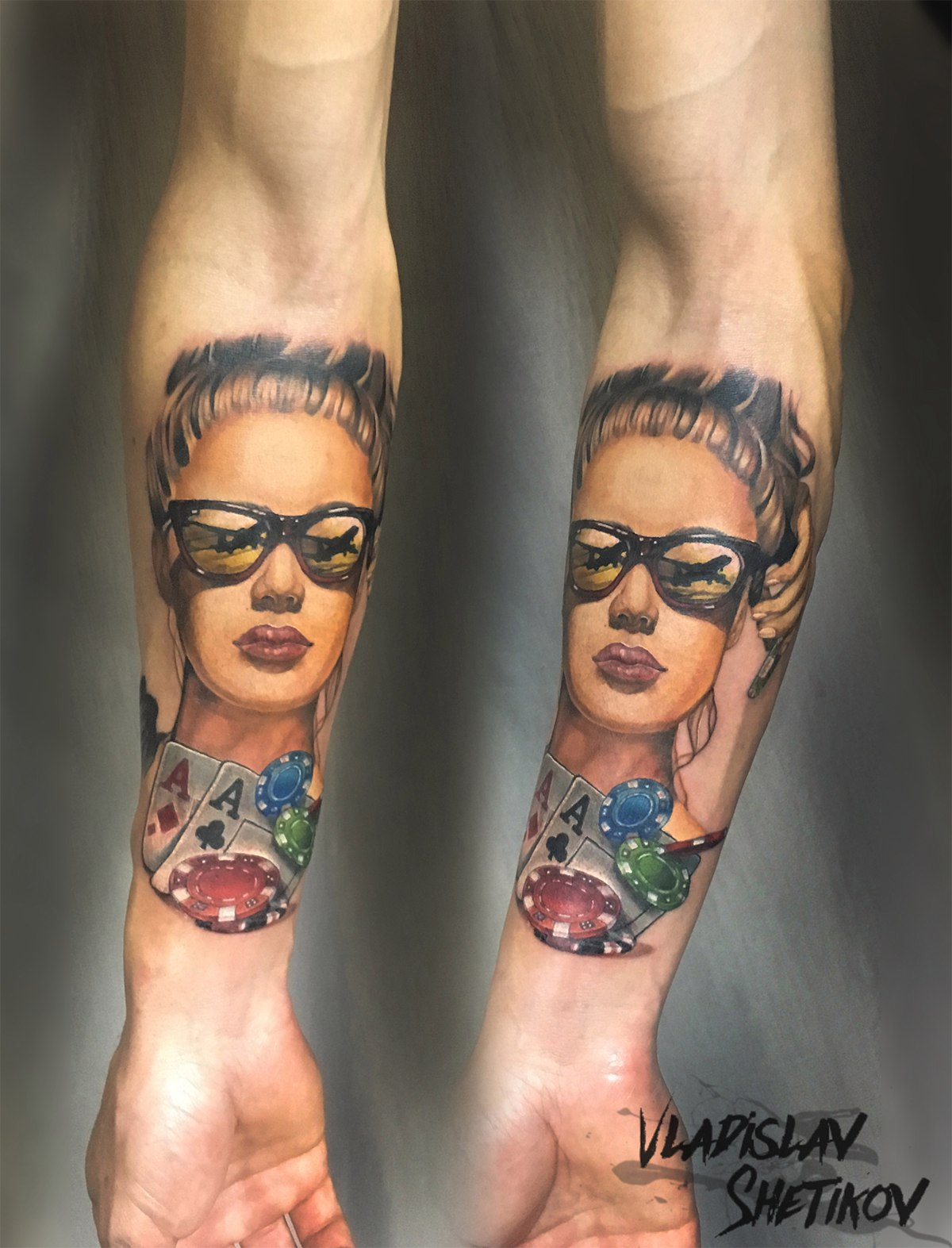 Gambling theme tattoo with cards and woman face