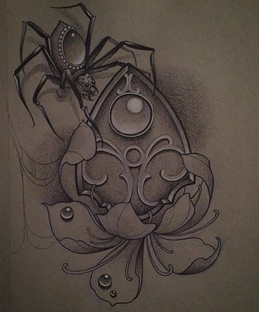 Gem-decorated spider with flower and coat of arms tattoo design