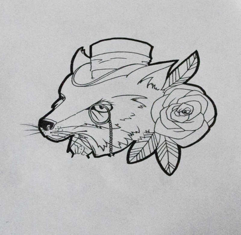 Gentleman fox with monocle tattoo design by Aihp95