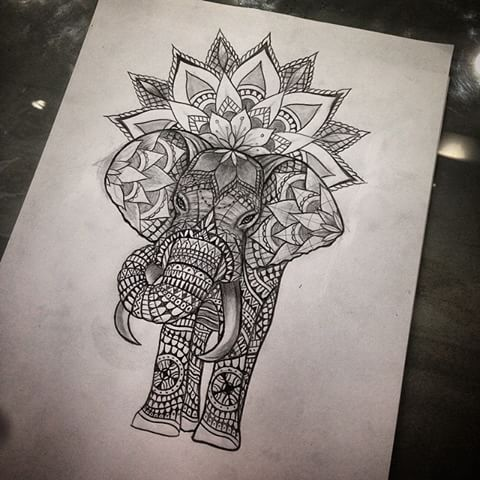 Geometric Ornamented Elephant And Mandala Flower Tattoo
