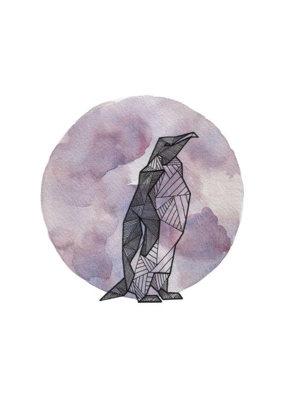 Geometric-style penguin standing at huge purple moon tattoo design