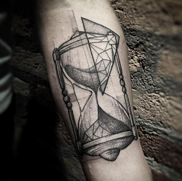 Geometric blackwork hourglass tattoo by Lucas Martinelli