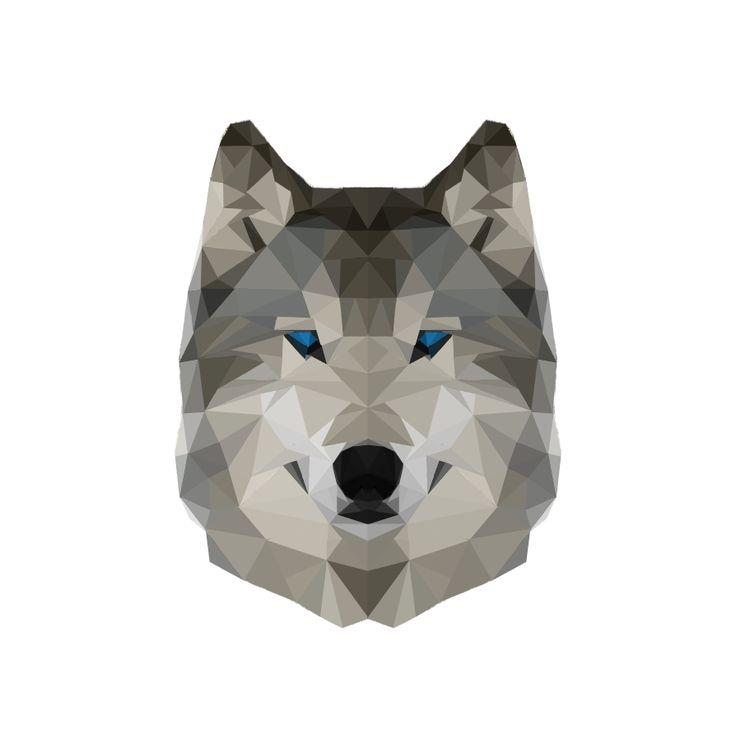 Geometric blue-eyed wolf head tattoo design