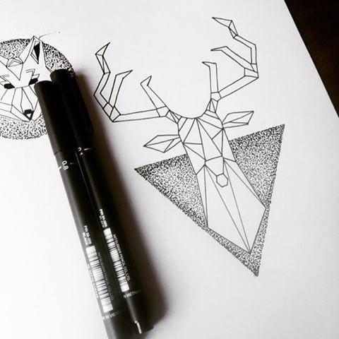 Geometric deer on dotwork triangle background tattoo design
