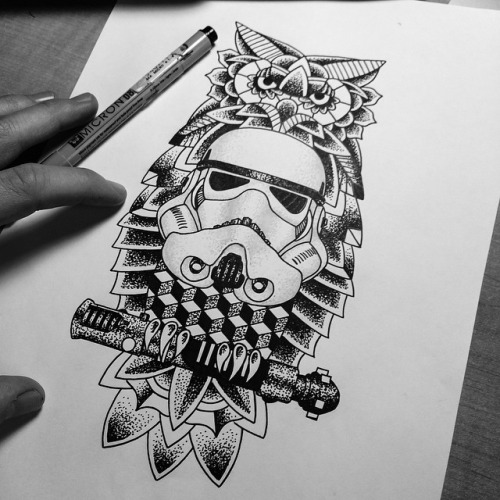 Geometric dotwork owl keeping a stick and a white space helmet tattoo design