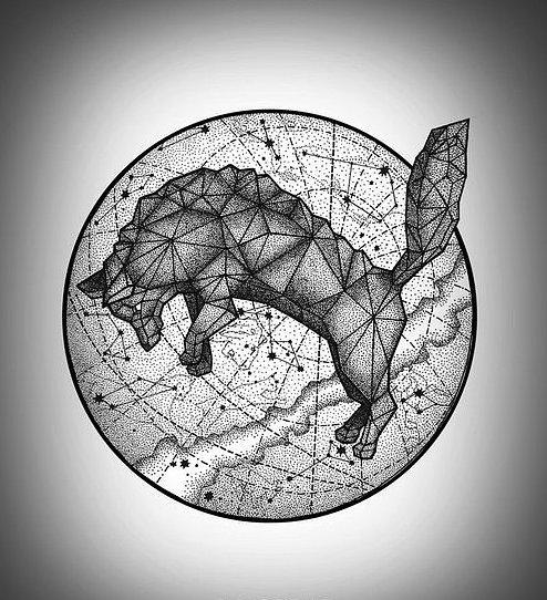 geometric jumping wolf on drawing planet model tattoo