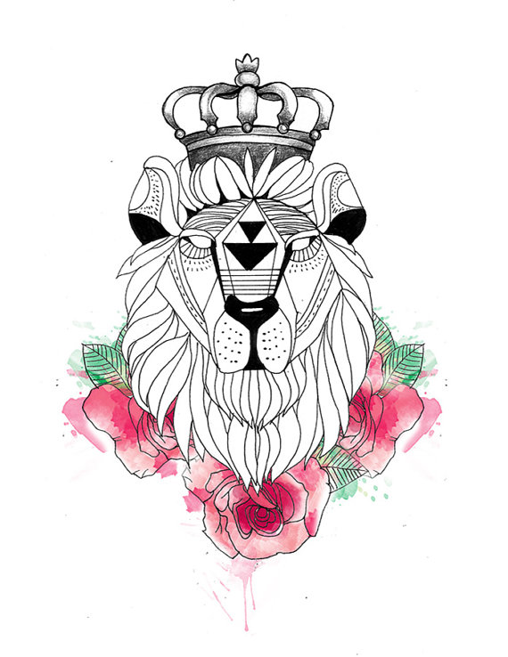 Geometric Lion Head In Crown And Pink Flowers Tattoo Design