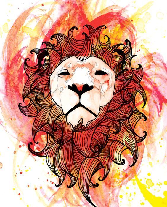 Geometric lion head on orange watercolor background tattoo design
