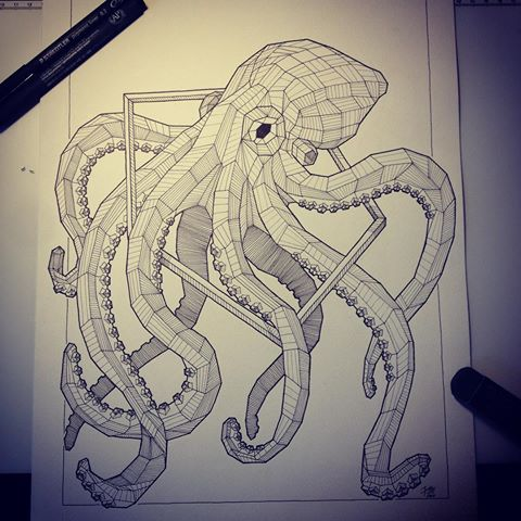 Geometric octopus in polygon frame tattoo design