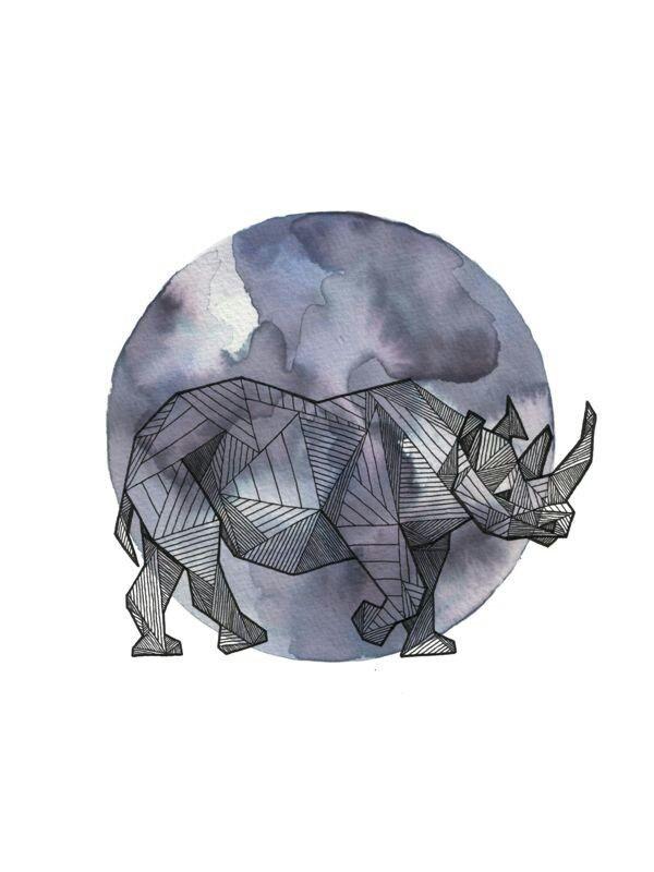 Geometric rhino standing on purple moon background tattoo design