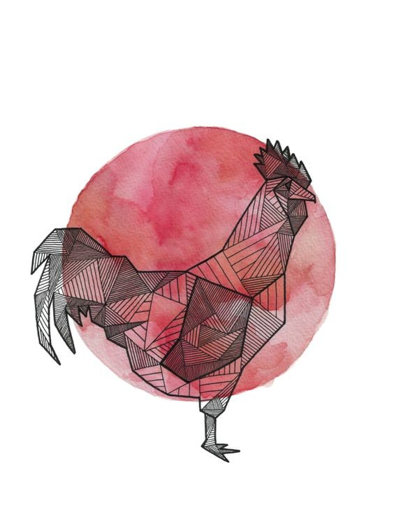 Geometric rooster standing on red watercolor bakground tattoo design