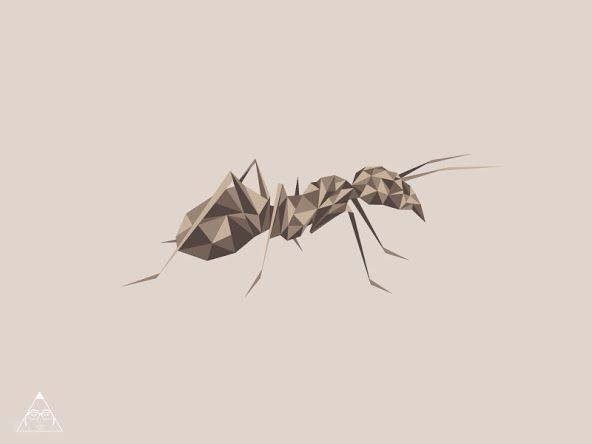Geometric style ant in brown colors tattoo design