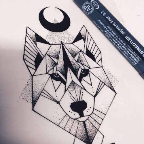 geometric uncolored wolf and inverted black moon tattoo
