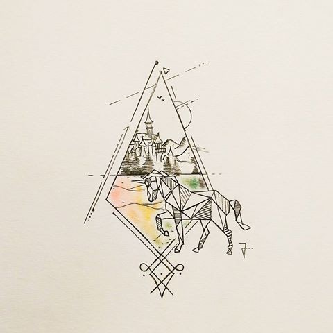 Geometric unicorn walking onto colorful castle view rhombus frame tattoo design