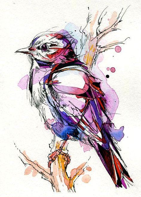 Line Art Watercolor : Geometric watercolor bird in purple color tattoo design